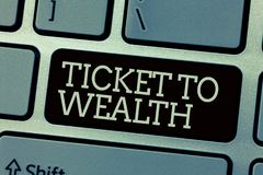 Konceptualny ręki writing pokazuje bilet bogactwo Biznesowy fotografia teksta koło pomyślności przejście Pomyślny i obrazy stock