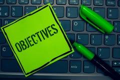 Konceptualny ręki writing pokazuje cele Biznesowi fotografia teksta cele planujący dokonującymi Pragnęli cel firmy misje Keyb Fotografia Stock