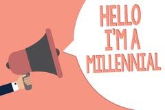 Konceptualny ręki writing pokazuje cześć jestem Millennial Biznesowego fotografia teksta osoby dojechania młoda dorosłość w aktua ilustracja wektor