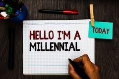 Konceptualny ręki writing pokazuje cześć jestem Millennial Biznesowego fotografia teksta osoby dojechania młoda dorosłość w aktua ilustracji