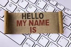 Konceptualny ręki writing pokazuje cześć Mój imię Jest Biznesowa fotografia pokazuje spotkania someone nowy wprowadzenie wywiad P Obrazy Royalty Free