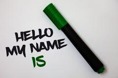 Konceptualny ręki writing pokazuje cześć Mój imię Jest Biznesowy fotografia tekst ono Przedstawia spotkanie someone nowi prezenta Fotografia Stock
