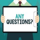 Konceptualny ręki writing pokazuje Jakaś pytania pytanie Biznesowa fotografia pokazuje Pytać dla śledztwa przesłuchania klarowani ilustracja wektor