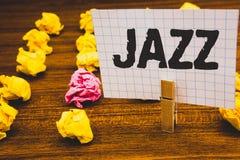 Konceptualny ręki writing pokazuje jazz Biznesowy fotografia teksta typ muzyka czarnego Amerykańskiego początku Muzykalnego gatun Zdjęcia Royalty Free