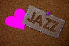 Konceptualny ręki writing pokazuje jazz Biznesowy fotografia teksta typ muzyka czarnego Amerykańskiego początku Muzykalnego gatun Fotografia Royalty Free