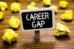 Konceptualny ręki writing pokazuje karierę Gap Biznesowa fotografia pokazuje A scenę dokąd w tobie pracować twój zawodem dla w za obraz stock