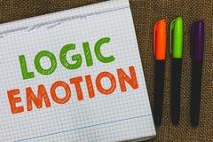 Konceptualny ręki writing pokazuje logiki emocję Biznesowego fotografia teksta Niemili uczucia obracający jaźń szacuneku Rozsądny obrazy royalty free