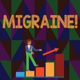 Konceptualny ręki writing pokazuje migrenę Biznesowego fotografia teksta Nawrotna migrena w jeden stronie kierownicza mdłość i ilustracja wektor