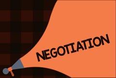 Konceptualny ręki writing pokazuje negocjację Biznesowa fotografia teksta dyskusja celująca przy dojechanie zgody przeniesieniem  ilustracja wektor