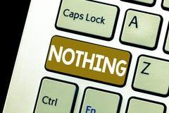 Konceptualny ręki writing pokazuje Nic Biznesowa fotografia pokazuje Nie cokolwiek Żadny rzeczy lub wartości nieobecność ilustracja wektor