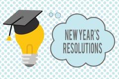 Konceptualny ręki writing pokazuje nowego roku s jest postanowieniami Biznesowa fotografia pokazuje Wishlist listę rzeczy ilustracja wektor