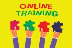 Konceptualny ręki writing pokazuje Online szkolenie Biznesowy fotografii pokazywać Bierze program edukacyjnego od elektronicznego ilustracji