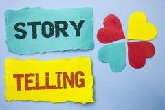Konceptualny ręki writing pokazuje opowieści Mówić Biznesowy fotografii pokazywać Mówi krótkie opowiadanie części doświadczeń Oso Fotografia Stock