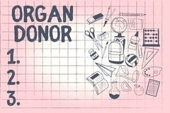 Konceptualny ręki writing pokazuje Organowego dawcy Biznesowa fotografia pokazuje A demonstrować co oferuje organ od ich ilustracji
