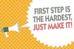 Konceptualny ręki writing pokazuje pierwszego kroka Jest Ciężki, Właśnie Robi Mu Biznesowy fotografia tekst no daje up na definit ilustracja wektor