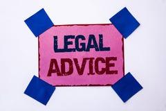 Konceptualny ręki writing pokazuje poradę prawną Biznesowe fotografia teksta rekomendacje dawać prawnika lub prawo konsultanta ek obrazy royalty free