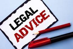 Konceptualny ręki writing pokazuje poradę prawną Biznesowe fotografia teksta rekomendacje dawać prawnika lub prawo konsultanta ek zdjęcia royalty free