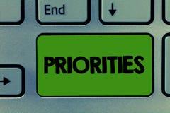 Konceptualny ręki writing pokazuje priorytety Biznesowa fotografia pokazuje rzeczy które dotyczą jak znacząco naglący zdjęcia royalty free
