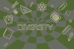 Konceptualny ręki writing pokazuje różnorodność Biznesowa fotografia pokazuje stan być różnorodnego pasma rzeczy różnym zbieranin ilustracja wektor