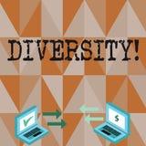 Konceptualny ręki writing pokazuje różnorodność Biznesowy fotografia tekst Komponuje różnych elementów Różnorodna rozmaitość ilustracja wektor