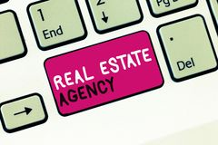 Konceptualny ręki writing pokazuje Real Estate agenci Biznesowa fotografia pokazuje Biznesowej jednostki Układa bubla czynszu are zdjęcia royalty free