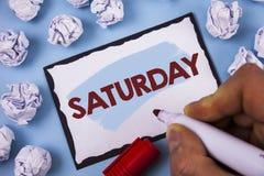 Konceptualny ręki writing pokazuje Sobotę Biznesowego fotografia teksta Pierwszy dzień weekendowy Relaksujący czasu wakacje czasu Obraz Stock