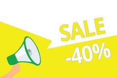 Konceptualny ręki writing pokazuje sprzedaż 40 Biznesowa fotografia pokazuje A promo cenę rzecz przy 40 procentów markdown megafo ilustracja wektor