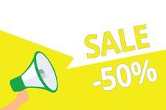 Konceptualny ręki writing pokazuje sprzedaż 50 Biznesowa fotografia pokazuje A promo cenę rzecz przy 50 procentów markdown megafo ilustracja wektor