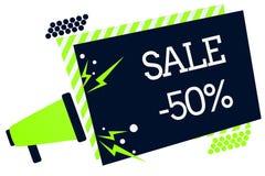 Konceptualny ręki writing pokazuje sprzedaż 50 Biznesowa fotografia pokazuje A promo cenę rzecz przy 50 procentów markdown megafo royalty ilustracja