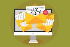Konceptualny ręki writing pokazuje sprzedaż 50 Biznesowa fotografia teksta A promo cena rzecz przy 50 procentów markdown dostawan ilustracji