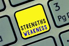 Konceptualny ręki writing pokazuje Strengths słabość Biznesowa fotografia teksta sposobność i zagrożenie analizy pozytyw i obrazy stock