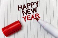 Konceptualny ręki writing pokazuje Szczęśliwego nowego roku Biznesowa fotografia pokazuje gratulacje Wesoło Xmas everyone zaczyna obraz royalty free