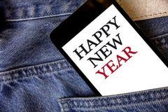 Konceptualny ręki writing pokazuje Szczęśliwego nowego roku Biznesowych fotografia teksta gratulacj Wesoło Xmas everyone zaczynać fotografia stock