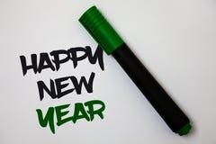 Konceptualny ręki writing pokazuje Szczęśliwego nowego roku Biznesowych fotografia teksta gratulacj Wesoło Xmas everyone zaczynać obraz stock