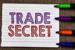 Konceptualny ręki writing pokazuje tajemnicę handlowa Biznesowa fotografia pokazuje poufną informację o produktu intelektualisty  zdjęcie stock