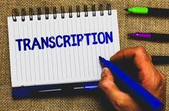 Konceptualny ręki writing pokazuje transkrybowanie Biznesowa fotografia pokazuje Pisać lub drukującego proces transkrybować formu Obrazy Stock