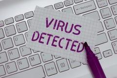 Konceptualny ręki writing pokazuje wirusa Wykrywającego Biznesowy fotografia teksta A program komputerowy używać zapobiegać i usu zdjęcie stock