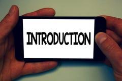 Konceptualny ręki writing pokazuje wprowadzenie Biznesowa fotografia pokazuje Pierwszy część dokument Formalna prezentacja audien fotografia stock