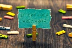 Konceptualny ręki writing pokazuje wysiłkowi 100 90 80 Biznesowa fotografia pokazuje poziom determinaci dyscypliny motywaci Paper zdjęcie royalty free