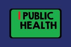 Konceptualny ręki writing pokazuje zdrowie publiczne Biznesowy fotografia tekst Promuje zdrowych style życia społeczność i swój royalty ilustracja