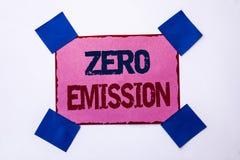 Konceptualny ręki writing pokazuje Zero emisję Biznesowego fotografia teksta silnika silnika Energetyczny źródło który emituje ża Zdjęcie Royalty Free