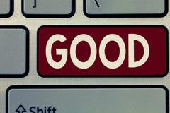 Konceptualny ręki writing pokazywać Dobry Biznesowy fotografii pokazywać Odpowiedni pewny purpose Wyraża zatwierdzenie zdjęcia stock