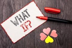 Konceptualny ręki writing seans Co Jeżeli pytanie Biznesowy fotografia tekst Jaki Podły pytanie Pyta Dobrowolnie pomoc Rozwiązuje Fotografia Royalty Free