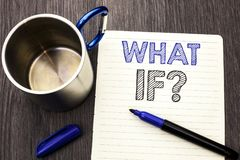 Konceptualny ręki writing seans Co Jeżeli pytanie Biznesowy fotografii pokazywać Jaki Podły pytanie Pyta Dobrowolnie pomoc Rozwią Obraz Royalty Free