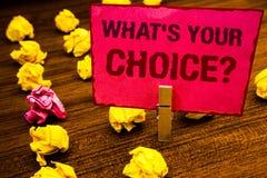 Konceptualny ręki writing seans Jaki S Twój Wyborowy pytanie Biznesowa fotografia pokazuje opci decyzję Wolał Poglądowego Prefere Zdjęcie Royalty Free