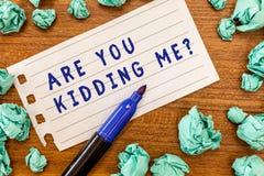 Konceptualny ręki writing seans Jest Tobą Żartuje Ja pytanie Biznesowa fotografia pokazuje wyrażenie niewiara lub no mógł być tru obraz royalty free
