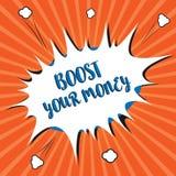 Konceptualny ręki writing seansu zwiększenie Twój pieniądze Biznesowa fotografia pokazuje wzrost twój banka oszczędzanie używać w royalty ilustracja