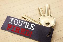 Konceptualny ręki writing teksta podpis pokazuje Ciebie Podpala Biznesowy pojęcie dla bezrobotni lub rozładowanie pisać na nutowy zdjęcia royalty free