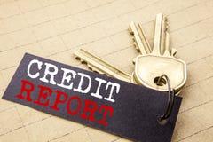 Konceptualny ręki writing teksta podpis pokazuje Kredytowego raport Biznesowy pojęcie dla Finansowego wynika czeka pisać na nutow ilustracja wektor