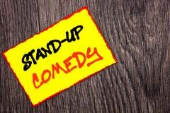 Konceptualny ręki writing teksta seans Stoi Up komedię Pojęcia znaczenia rozrywki klubu zabawy przedstawienia komedianta noc pisa obrazy stock